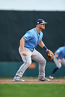 Tampa Bay Rays third baseman Michael Brosseau (84) during a Grapefruit League Spring Training game against the Baltimore Orioles on March 1, 2019 at Ed Smith Stadium in Sarasota, Florida.  Rays defeated the Orioles 10-5.  (Mike Janes/Four Seam Images)