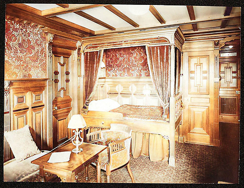 A first class cabin interior on the Titanic