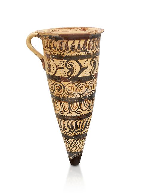 "Minoan decorated conical rhython geometric design , Konssos  'Unexplored Mansion"" 1450-1370 BC;  Heraklion Archaeological  Museum, white background"