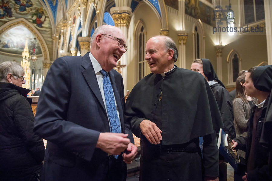 January 20, 2017; Wayne Murdy and Rev. Peter Rocca chat after the Blessing and Organ Recital in the Basilica of the Sacred Heart. (Photo by Barbara Johnston/University of Notre Dame)