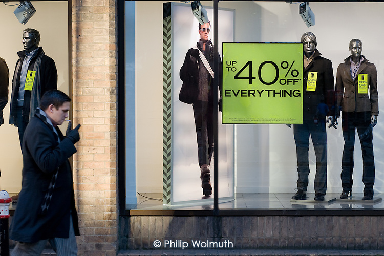 Pre-Christmas sale at Austin Reed, central London.
