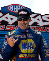 Sept. 1, 2013; Clermont, IN, USA: NHRA funny car driver Ron Capps during qualifying for the US Nationals at Lucas Oil Raceway. Mandatory Credit: Mark J. Rebilas-