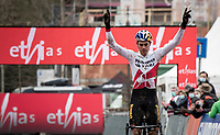 Wout van Aert (BEL/Jumbo-Visma) wins the UCI CX World Cup race in Overijse, Belgium on 24 january 2021<br /> and thus becomes the World Cup overall winner for the season<br /> <br /> Men's Race<br /> <br /> ©kramon