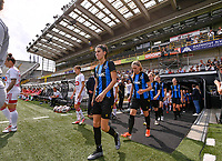 Febe Vanhaecke (3) of Club Brugge and Ludmila Matavkova (9) of Club Brugge pictured entering the pitch ahead of a female soccer game between Club Brugge Dames YLA and Standard Femina de Liege on the first matchday of the 2021 - 2022 season of Belgian Scooore Womens Super League , saturday 21 August 2021in Brugge , Belgium . PHOTO SPORTPIX   DAVID CATRY