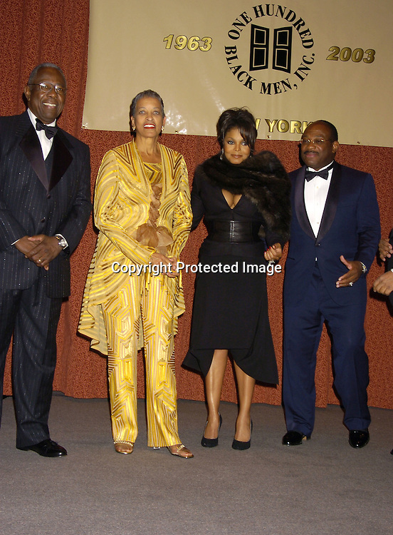 The Honorees Hank Aaron, Dr Johnnetta B. Cole, Janet Jackson and Willie E Gary..at the One Hundred Black Men, Inc Dinner honoring ..Janet Jackson, Hank Aaron, Dr Johnnetta B. Cole and ..Willie E. Gary on November 11, 2004 at The Hilton Hotel. ..Photo by Robin Platzer, Twin Images