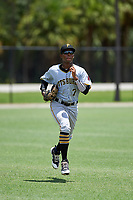 GCL Pirates left fielder Eddy Vizcaino (7) jogs back to the dugout during a game against the GCL Tigers West on July 17, 2017 at TigerTown in Lakeland, Florida.  GCL Tigers West defeated the GCL Pirates 7-4.  (Mike Janes/Four Seam Images)