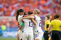 LYON, FRANCE - JULY 07: Jessica McDonald, Crystal Dunn, and Abby Dahlkemper celebrate during a game between Netherlands and USWNT at Stade de Lyon on July 07, 2019 in Lyon, France.