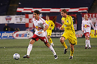 New York Red Bulls forward Juan Pablo Angel (9)is chased by Columbus Crew midfielder Eddie Gaven (12). The New York Red Bulls defeated the Columbus Crew 2-0 during a Major League Soccer match at Giants Stadium in East Rutherford, NJ, on April 5, 2008.