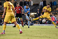 18th April 2021; Leichardt Oval, Sydney, New South Wales, Australia; A League Football, Sydney Football Club versus Adelaide United; Anthony Caceres of Sydney takes a shot on goal but the effort was saved