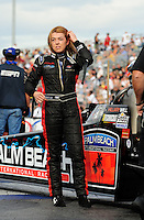 Oct. 31, 2008; Las Vegas, NV, USA: NHRA top fuel dragster driver Hillary Will during qualifying for the Las Vegas Nationals at The Strip in Las Vegas. Mandatory Credit: Mark J. Rebilas-