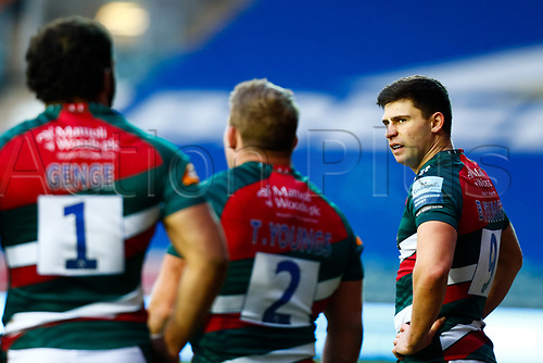 3rd January 2021; Welford Road Stadium, Leicester, Midlands, England; Premiership Rugby, Leicester Tigers versus Bath Rugby; Ben Youngs of Leicester Tigers talks to his team mates after conceding a try