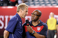 United States head coach Jurgen Klinsmann is interviewed before the match. The men's national teams of the United States (USA) and Mexico (MEX) played to a 1-1 tie during an international friendly at Lincoln Financial Field in Philadelphia, PA, on August 10, 2011.