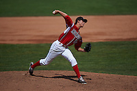 Batavia Muckdogs pitcher Jordan Holloway (56) delivers a pitch during a game against the State College Spikes August 23, 2015 at Dwyer Stadium in Batavia, New York.  State College defeated Batavia 8-2.  (Mike Janes/Four Seam Images)