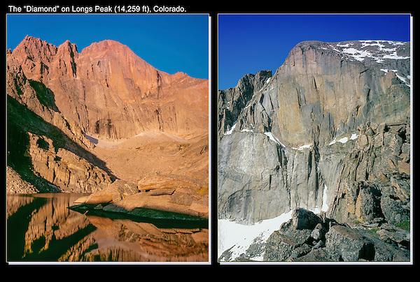 "The ""Diamond,"" a famous Colorado rock climb on Long's Peak (14,259 feet), Colorado."