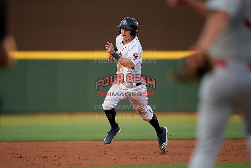 Lakeland Flying Tigers second baseman A.J. Simcox (12) running the bases during a Florida State League game against the Palm Beach Cardinals on April 17, 2019 at Publix Field at Joker Marchant Stadium in Lakeland, Florida.  Lakeland defeated Palm Beach 1-0.  (Mike Janes/Four Seam Images)
