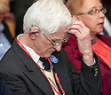 """Dr Jim Swire, whose daughter Flora died when Pan Am Flight 103 crashed at the town of Lockerbie, Scotland, watches the premiere of Al Jazeera's, """"Lockerbie: What Really Happened?"""" at the Scottish Parliament."""