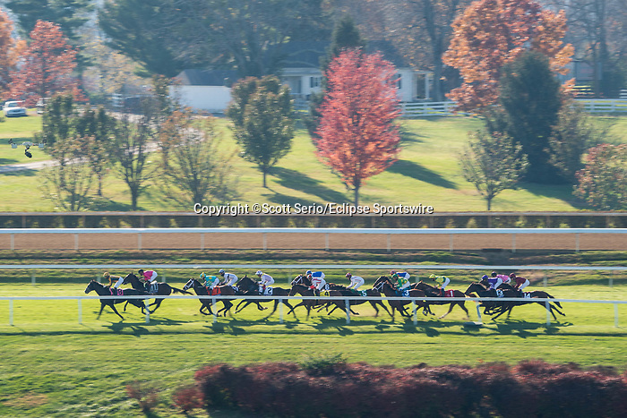 November 6, 2020: Horses race during the Juvenile Turf Presented By Coolmore America on Breeders' Cup Championship Friday at Keeneland on November 6, 2020: in Lexington, Kentucky. Scott Serio/Eclipse Sportswire/Breeders Cup/CSM