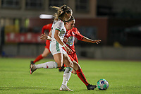 Jill Janssens (7) of OHL and Taika De Koker (20) of Woluwe in action during a female soccer game between FC Femina White Star Woluwe and Oud Heverlee Leuven on the fourth matchday in the 2021 - 2022 season of Belgian Scooore Womens Super League , Friday 10 th of September 2021  in Woluwe , Belgium . PHOTO SPORTPIX   SEVIL OKTEM