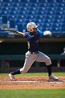 Harry Ford (20) of North Cobb HS in Kennesaw, GA playing for the Milwaukee Brewers scout team during the East Coast Pro Showcase at the Hoover Met Complex on August 3, 2020 in Hoover, AL. (Brian Westerholt/Four Seam Images)