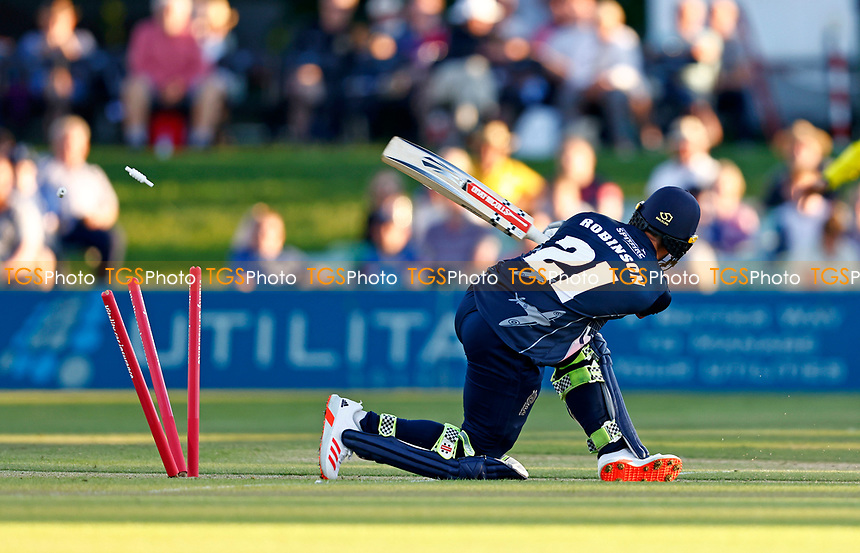 Ollie Robinson of Kent is bowled by Chris Wood during Kent Spitfires vs Hampshire Hawks, Vitality Blast T20 Cricket at The Spitfire Ground on 9th June 2021