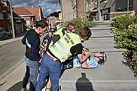 crash victim Lennert van Eetvelt (BEL/Lotto - Soudal)<br /> <br /> U23 - Road Race (WC)<br /> race from Antwerp to Leuven (161.1km)<br /> <br /> UCI Road World Championships - Flanders Belgium 2021<br /> <br /> ©kramon