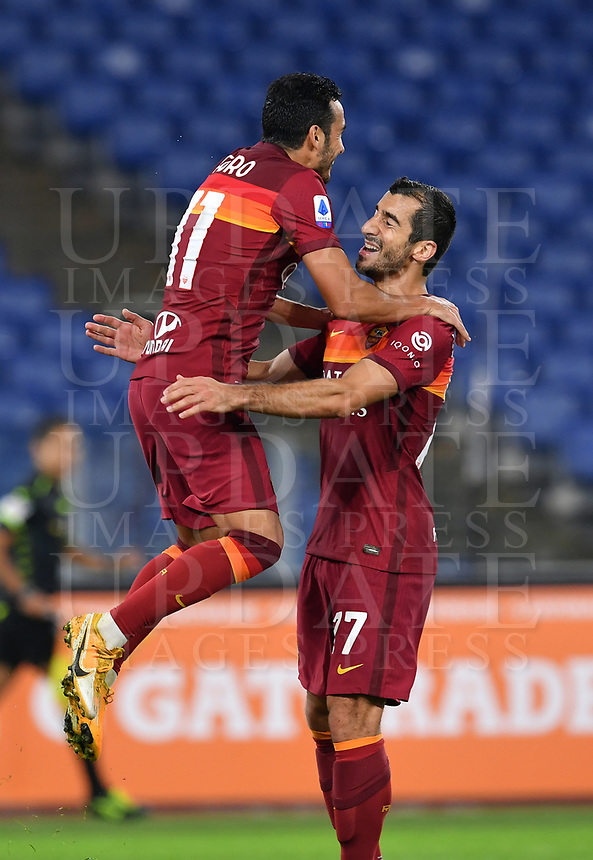 Football, Serie A: AS Roma - Fiorentina, Olympic stadium, Rome, November 1, 2020. <br /> Roma's Pedro Rodriguez (l) celebrates after scoring with his teammate Henrich Mkhitaryan (r) during the Italian Serie A football match between Roma and Fiorentina at Olympic stadium in Rome, on November 1, 2020. <br /> UPDATE IMAGES PRESS/Isabella Bonotto