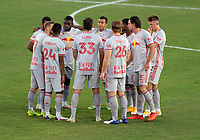 WASHINGTON, DC - SEPTEMBER 12: New York Red Bulls players huddle during a game between New York Red Bulls and D.C. United at Audi Field on September 12, 2020 in Washington, DC.