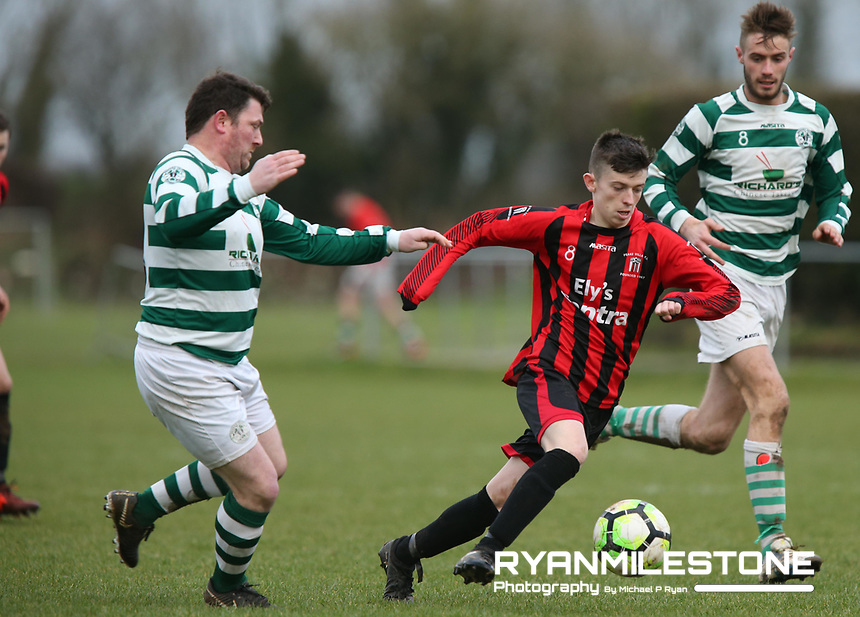 2018 Munster Junior Cup 4th Round, Peake Villa v Nenagh Celtic.Peake Villa's Keith Cahill in action against Nenagh Celtic's Stevie Ryan during the Munster Junior Cup 4th Round at Tower Grounds, Thurles, Co Tipperary on Sunday 28th January 2018, Photo By: Michael P Ryan