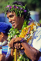 """Navigator of Polynesian voyaging canoe, Hokule'a, Nainoa Thompson - homecoming, """"Voyage of Education;"""" Kualoa, Oahu - 12/5/92"""