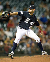 Rice Owl pitcher Taylor Wall against the Texas Longhorns on Friday March 5th, 2100 at the Astros College Classic in Houston's Minute Maid Park.  (Photo by Andrew Woolley / Four Seam Images)