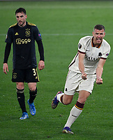 Football: Europa League - quarter final 2nd leg AS Roma vs Ajax, Olympic Stadium. Rome, Italy, March 15, 2021.<br /> Roma's Edin Dzeko (R) celebrates after scoring during the Europa League football match between Roma at Rome's Olympic stadium, Rome, on April 15, 2021.  <br /> UPDATE IMAGES PRESS/Isabella Bonotto