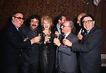 SERGIO CORBUCCI CON MEME' PERLINI, NANCY BRILLI, ALBERTO LATTUADA E PAOLO TAVIANI<br /> FESTA DI MASTRIMONIO BRILLI-GHINI AL NOTORIUS CLUB ROMA 1987
