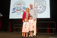San Francisco, CA - Saturday Feb. 14, 2015: (Left to right): US Soccer  player Kristine Lilly with her family after being inducted into the hall of fame at the 2014 US Soccer Hall of Fame Induction ceremony.