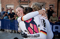 Complete joy for Team Germany as they hear they just became the newest World Champions: Lisa Brennauer (DEU/Ceratizit-WNT), Lisa Klein (DEU/Canyon SRAM) & Mieke Kröger (DEU/Coop - Hitec Products) celebrating<br /> <br /> Mixed Relay TTT <br /> Team Time Trial from Knokke-Heist to Bruges (44.5km)<br /> <br /> UCI Road World Championships - Flanders Belgium 2021<br /> <br /> ©kramon