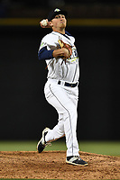 Pitcher Taylor Henry (17) of the Columbia Fireflies delivers a pitch in a game against the Lakewood BlueClaws on Friday, May 5, 2017, at Spirit Communications Park in Columbia, South Carolina. Lakewood won, 12-2. (Tom Priddy/Four Seam Images)