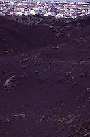 ISLANDA: paesaggio vulcanico: una distesa di lava e Reykjavic sullo sfondo.