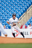 Lake County Captains shortstop Ernie Clement (31) leads off first base during the first game of a doubleheader against the South Bend Cubs on May 16, 2018 at Classic Park in Eastlake, Ohio.  South Bend defeated Lake County 6-4 in twelve innings.  (Mike Janes/Four Seam Images)