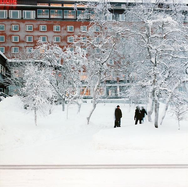 Schweden, Lappland, Kiruna, Parkanlage, Park, Schnee, Winter, Europa, Nordeuropa, Skandianvien, MF; (Bildtechnik: sRGB, 52.83 MByte vorhanden)