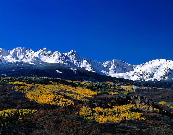 Sneffels Range with autumn Aspen trees, San Juan Mountains, Telluride, Colorado, USA John offers autumn photo tours throughout Colorado.