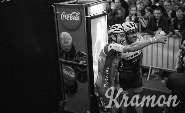 selfie-time for Fabian Cancellara (SUI/Trek-Segafredo) & Filippo 'Pipo' Pozzato (ITA/Wilier Triestina–Southeast) during the 'Ciao Fabian' farewell event in 't Kuipke in Gent/Belgium for Cancellara after retiring for pro racing (november 2016)