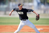 Wooster Fighting Scots shortstop Michael Wielansky (1) during practice before a game against Alfred State on March 15, 2018 at Terry Park in Fort Myers, Florida.  Wooster defeated Alfred State 14-4.  (Mike Janes/Four Seam Images)