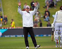Umpire Chris Gaffney signal a six for Jason Holder during day three of the second International Test Cricket match between the New Zealand Black Caps and West Indies at the Basin Reserve in Wellington, New Zealand on Sunday, 13 December 2020. Photo: Dave Lintott / lintottphoto.co.nz