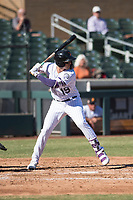 Salt River Rafters first baseman Josh Fuentes (19), of the Colorado Rockies organization, at bat during an Arizona Fall League game against the Glendale Desert Dogs at Salt River Fields at Talking Stick on October 31, 2018 in Scottsdale, Arizona. Glendale defeated Salt River 12-6 in extra innings. (Zachary Lucy/Four Seam Images)