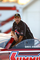 Sep 2, 2017; Clermont, IN, USA; NHRA pro stock driver Greg Anderson during qualifying for the US Nationals at Lucas Oil Raceway. Mandatory Credit: Mark J. Rebilas-USA TODAY Sports