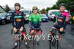 The Killarney cycling club ready for road in the Tom Crean Cycle fundraiser for Down Syndrome Kerry  on Saturday morning, l to r: Keith Lyne, Jimmy Carton and Aidan Burgan from the Killarney Cycling club.