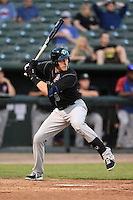Kane County Cougars catcher Cael Brockmeyer (9) at bat during a game against the Peoria Chiefs on June 2, 2014 at Dozer Park in Peoria, Illinois.  Peoria defeated Kane County 5-3.  (Mike Janes/Four Seam Images)