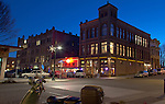 Port Townsend, Taylor Street, night, street scene, Rose Theater, Water Street,  winter, Jefferson County, Pacific Northwest, Olympic Peninsula, Washington State,