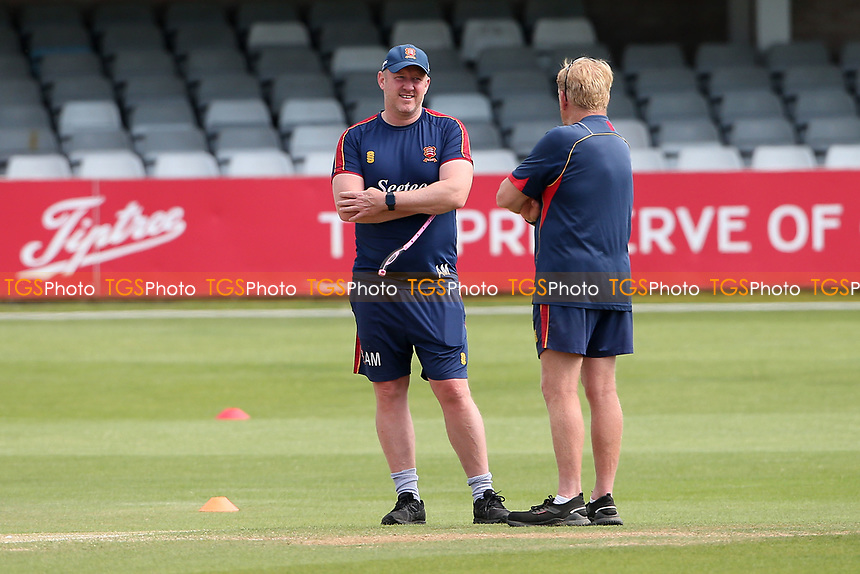 Essex head coach Anthony McGrath in coversation with head groundsman Stuart Kerrison ahead of Essex CCC vs Nottinghamshire CCC, LV Insurance County Championship Group 1 Cricket at The Cloudfm County Ground on 6th June 2021