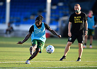 LAKE BUENA VISTA, FL - JULY 18: Yimmi Chará #23 of the Portland Timbers takes a shot during a game between Houston Dynamo and Portland Timbers at ESPN Wide World of Sports on July 18, 2020 in Lake Buena Vista, Florida.