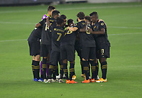 LOS ANGELES, CA - SEPTEMBER 13: Los Angeles Football Club starting eleven huddle during a game between Portland Timbers and Los Angeles FC at Banc of California stadium on September 13, 2020 in Los Angeles, California.